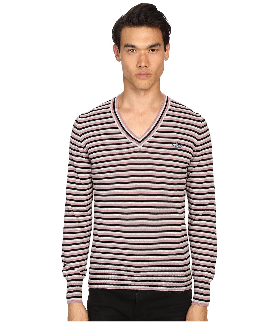 Vivienne Westwood - Stripe Classic V-Neck Sweater (Black/Grey/Pink Stripe) Men's Sweater