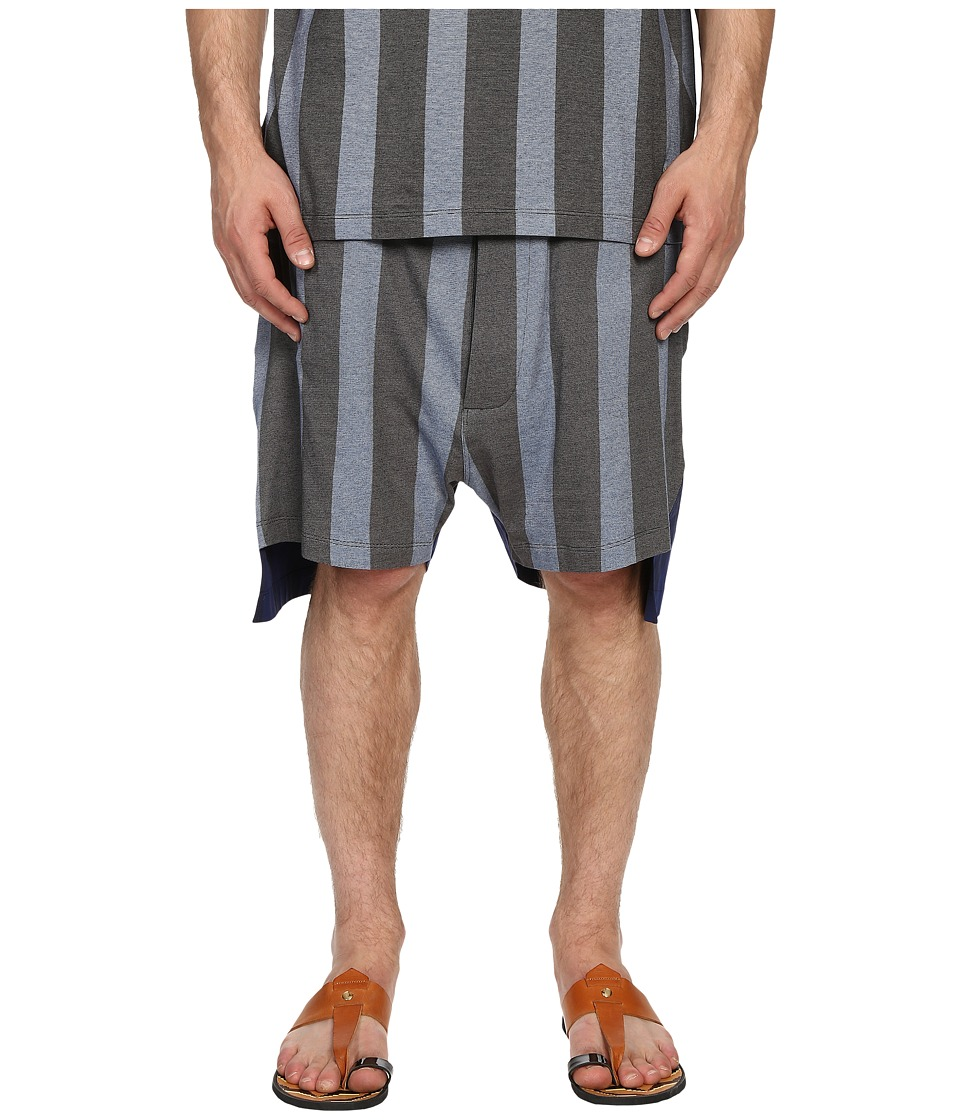 Vivienne Westwood - Printed Stripe Jersey Twist Seam Shorts (Blue Stripe) Men's Shorts