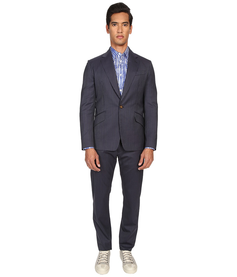 Vivienne Westwood - Mourning Stripe James Suit (Navy Stripe) Men's Suits Sets