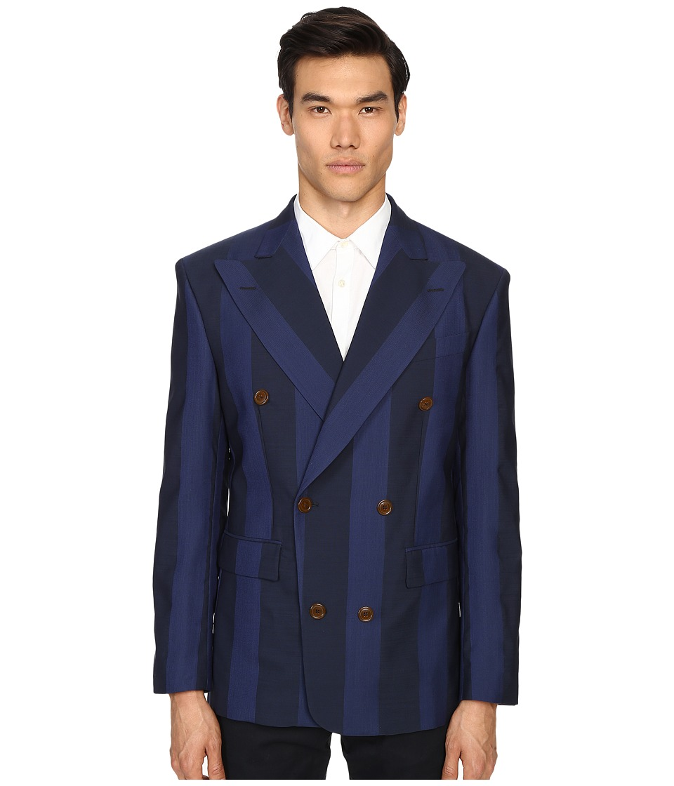Vivienne Westwood - Moorish Stripe Double Breasted Jacket (Navy Stripe) Men's Jacket