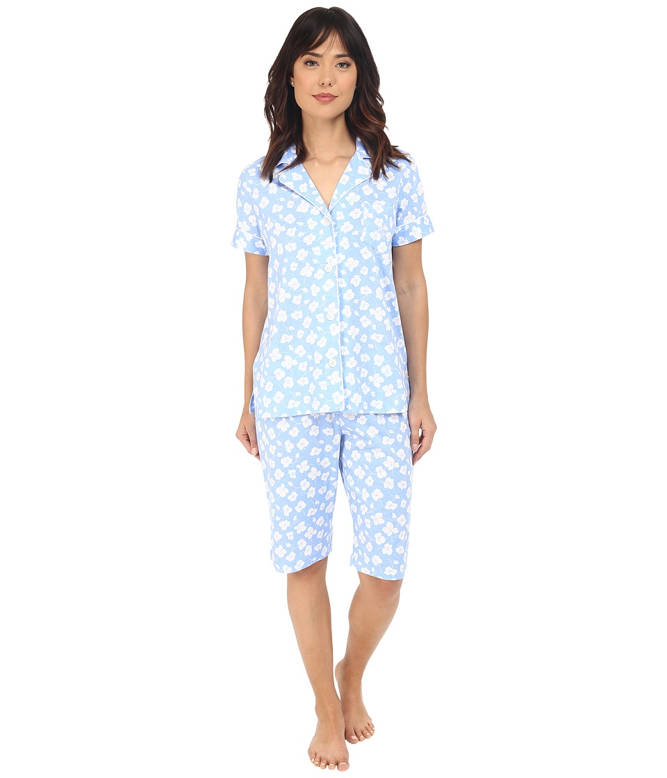 LAUREN Ralph Lauren - Knit Notch Collar Bermuda Pajama Set (Floral Blue/White) Women's Pajama Sets