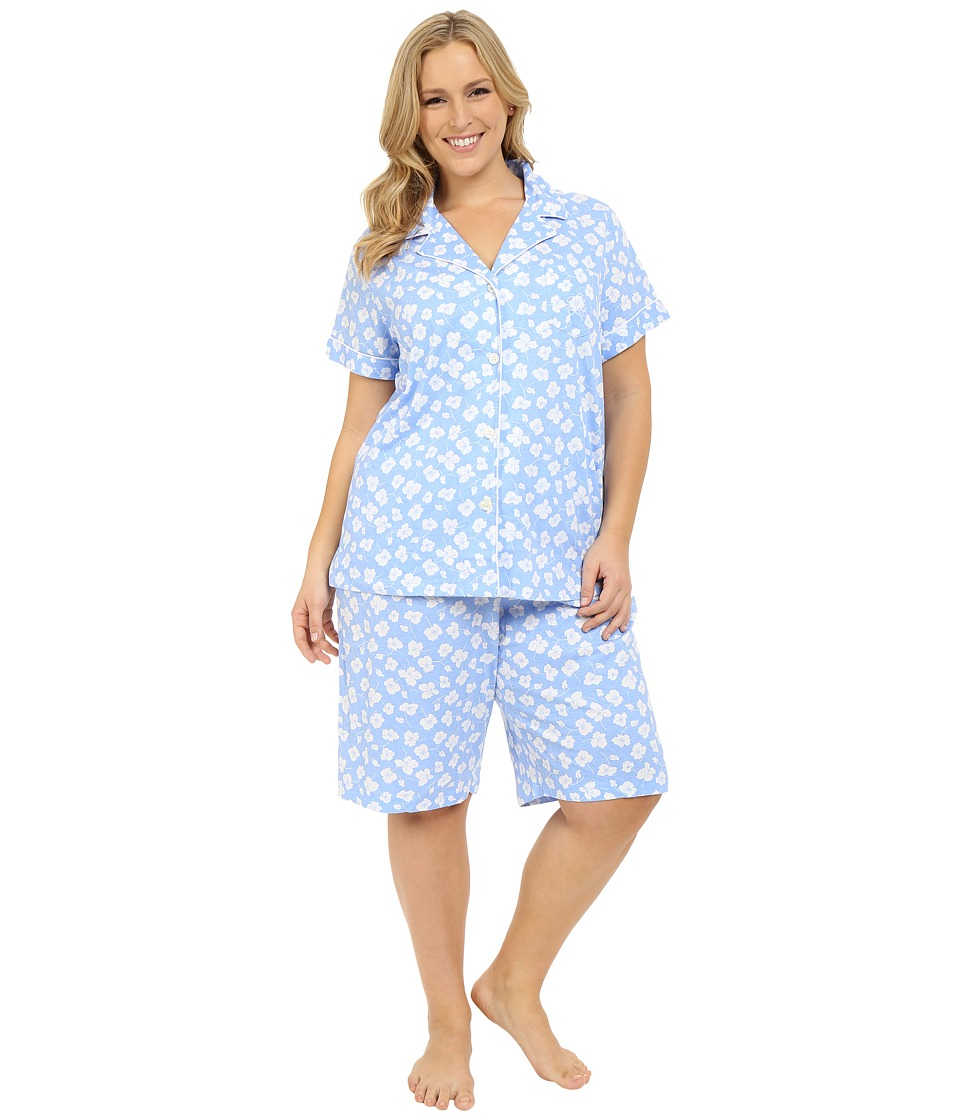 LAUREN Ralph Lauren - Plus Size Knit Notch Collar Bermuda Pajama Set (Floral Blue/White) Women's Pajama Sets