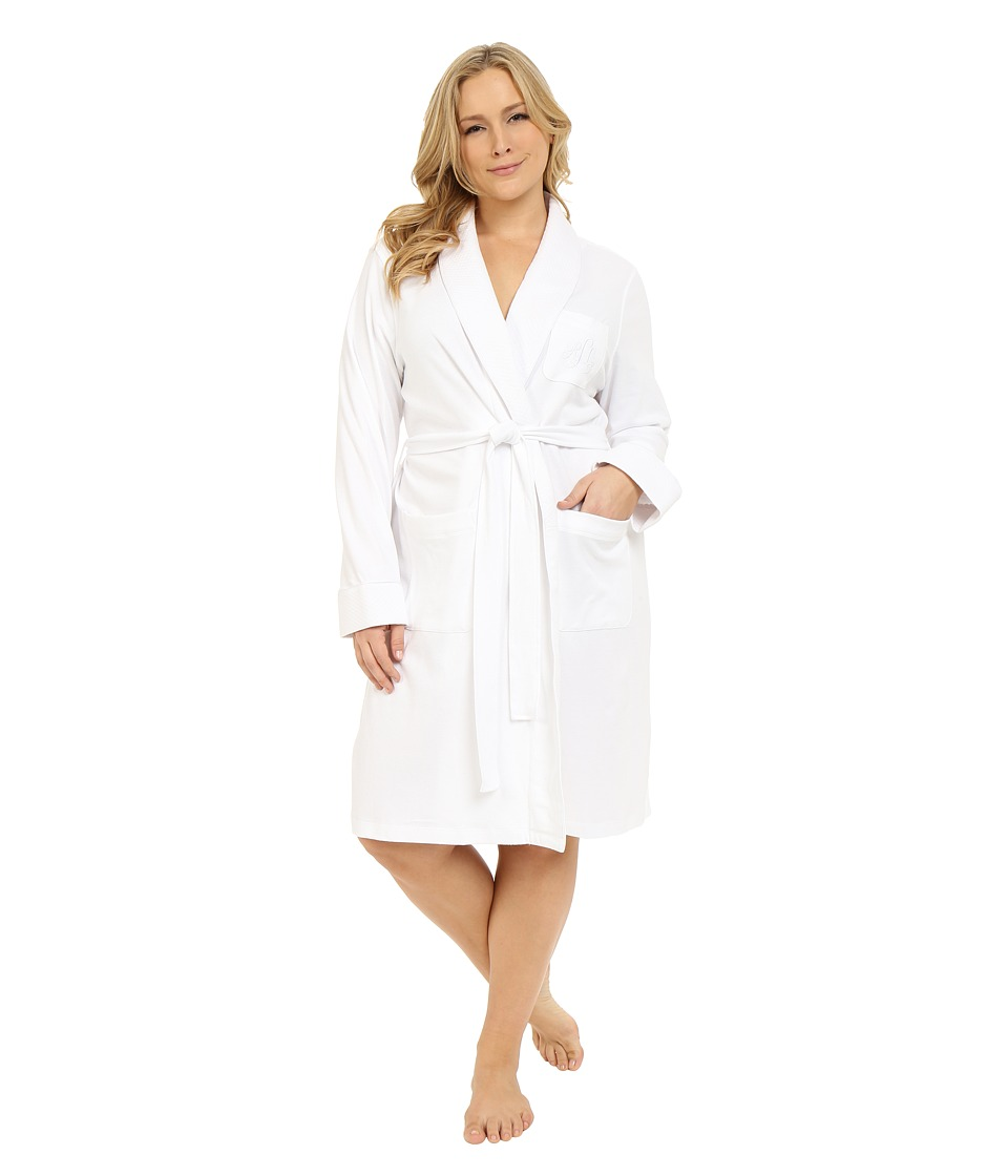 LAUREN Ralph Lauren - Plus Size Essentials Quilted Collar and Cuff Robe (White) Women's Robe