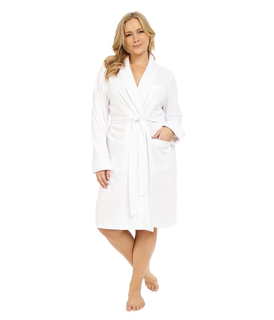 LAUREN Ralph Lauren - Plus Size Essentials Quilted Collar and Cuff Robe (White) Women's Robe