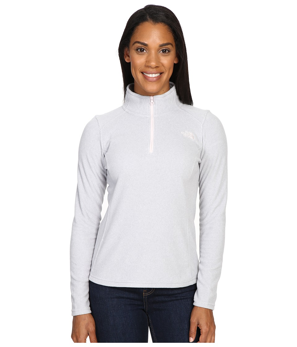 The North Face - Glacier 1/4 Zip Fleece Top (TNF Light Grey Heather/Purdy Pink) Women's Fleece