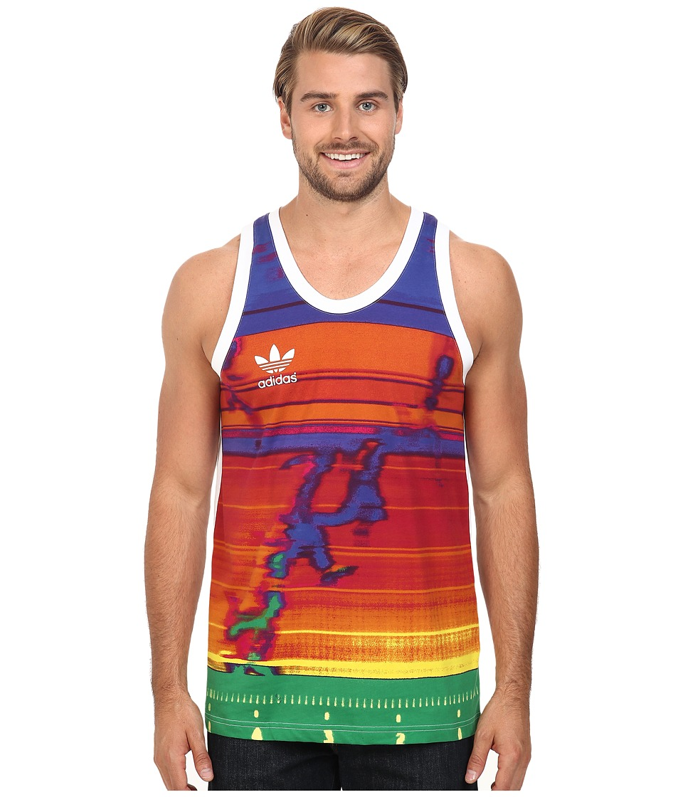 adidas Originals - Finishing Line Graphic Tank Top (White/Multi) Men's T Shirt