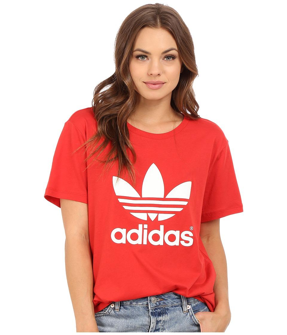 adidas Originals - Boyfriend Trefoil Tee (Lush Red/White) Women