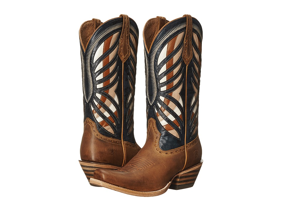 Ariat Gentry Narrow Square Toe (Honey/Estate Blue) Cowboy Boots