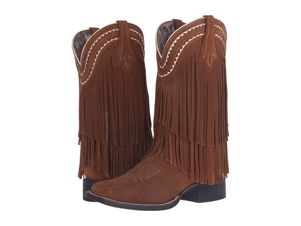 Ariat Fringe Wide Square Toe (Powder Brown) Cowboy Boots