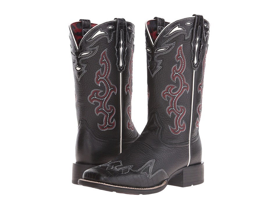 Ariat - Sidekick (Black Deertan/Black Empire Alligator Print) Cowboy Boots