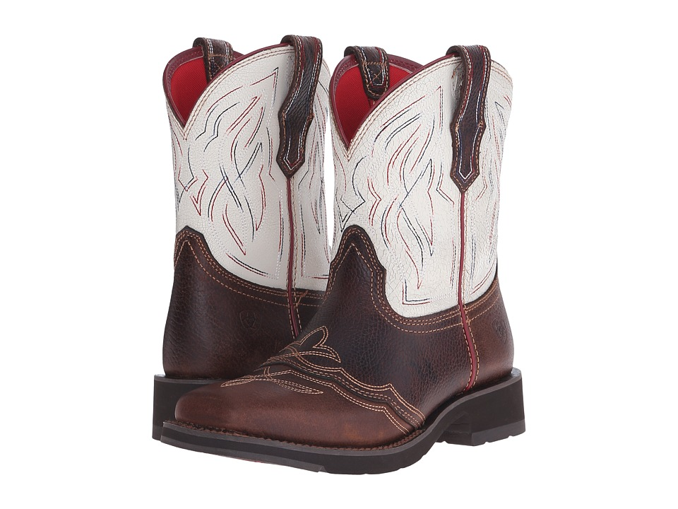 Ariat - Ranchbaby II (Pecan/White Crackle) Cowboy Boots