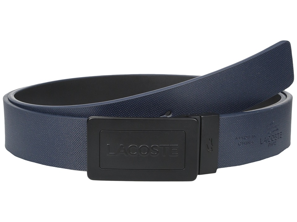 Lacoste - Reversible Plaque Belt (Navy/Black) Men's Belts