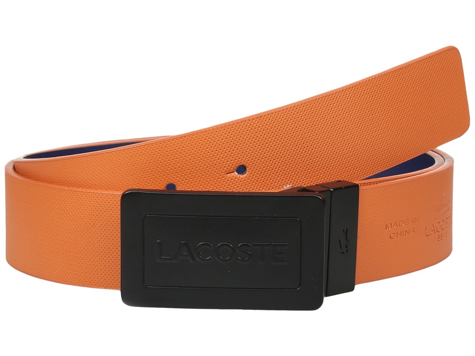 Lacoste - Reversible Plaque Belt (Orange/Nautical Blue) Men's Belts