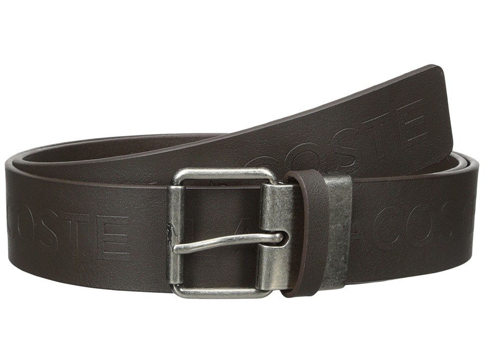 Lacoste - All Over Embossed Logo Belt (Brown) Men's Belts