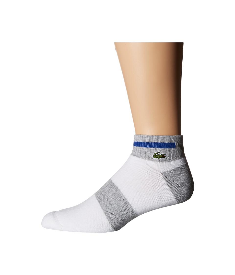 Lacoste - Sport Compression Ped Sock (White/Silver Chine/Royal) Men's Quarter Length Socks Shoes