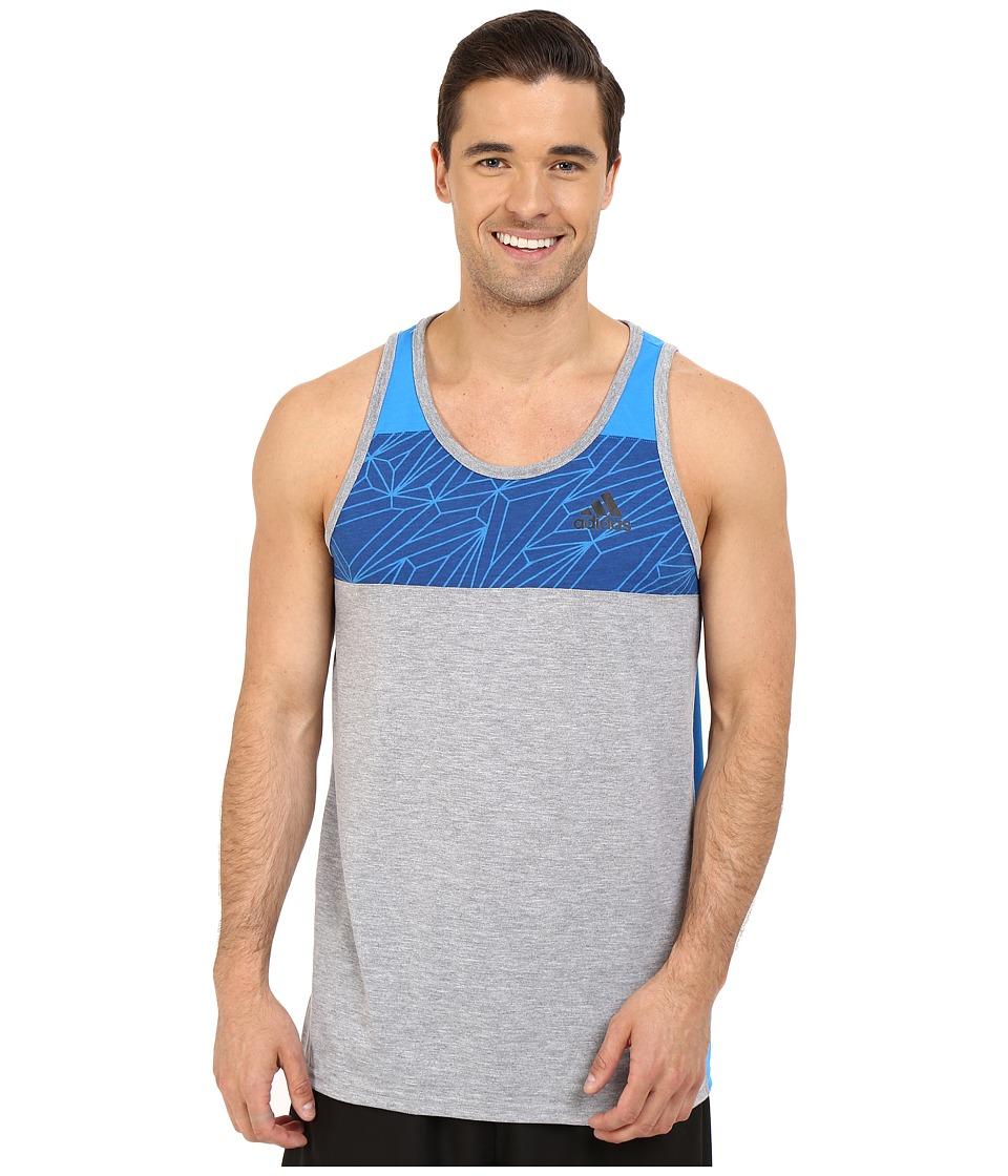 adidas - Ultimate Blocked Tank Top (Medium Grey Heather/Shock Blue) Men's Sleeveless