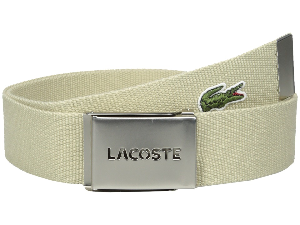 Lacoste - 40mm Woven Strap Belt (Raffia Tan) Men's Belts