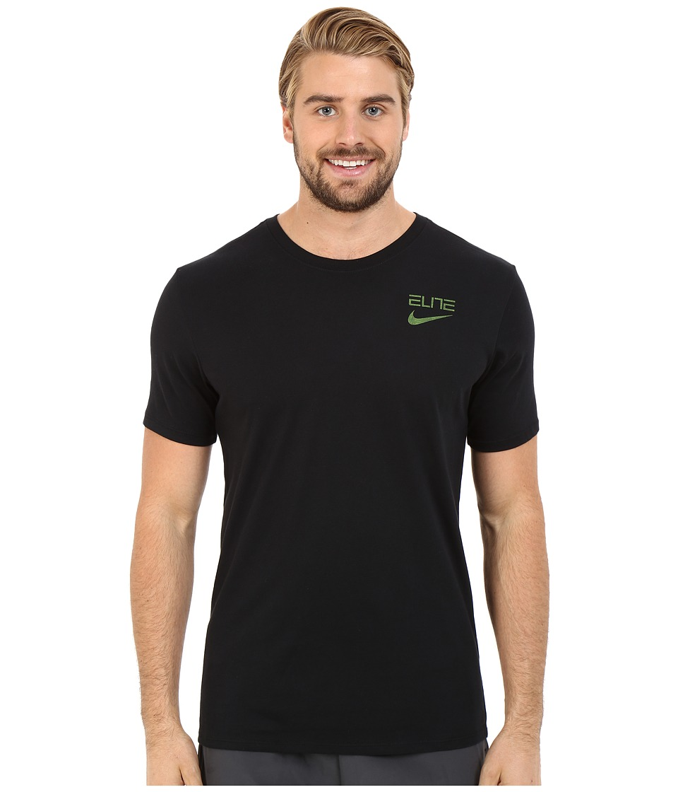 Nike - Elite Back Stripe Tee (Black/Volt) Men's T Shirt