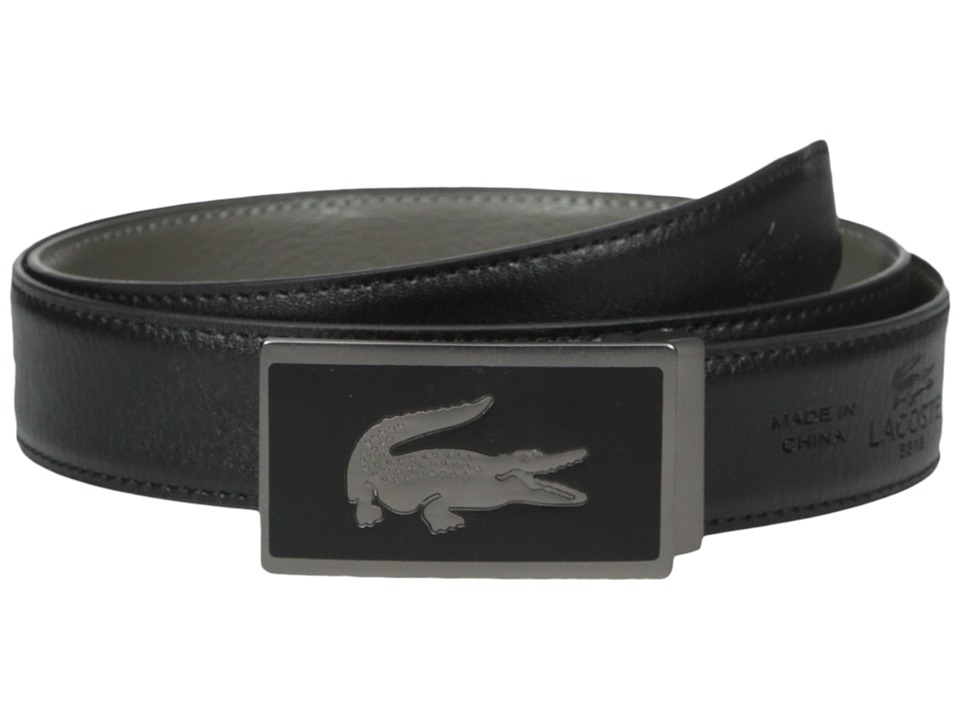 Lacoste - 30mm Gift Box 2 Buckles (Black/Grey) Men's Belts