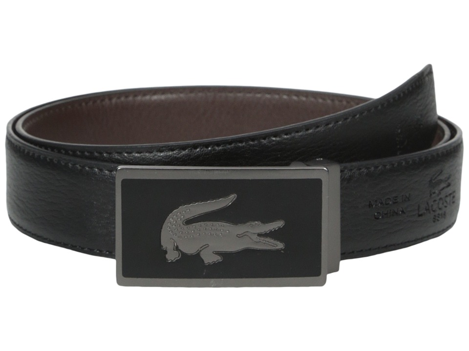 Lacoste - 30mm Gift Box 2 Buckles (Black/Brown) Men's Belts