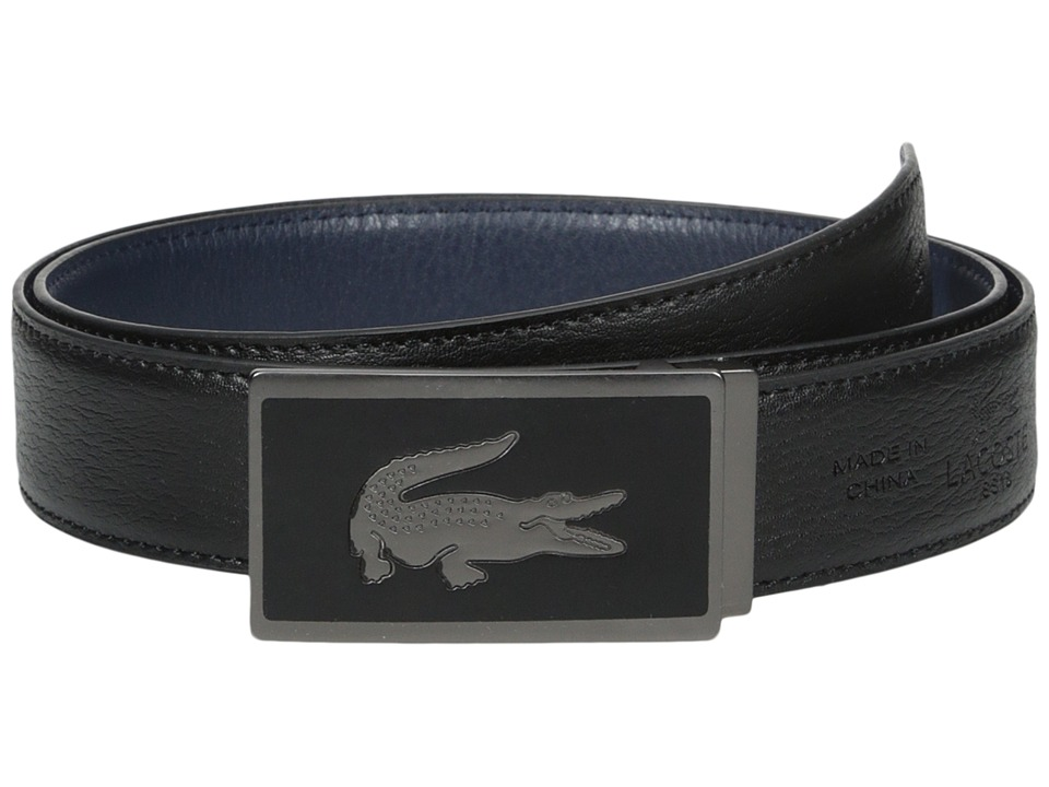 Lacoste - 30mm Gift Box 2 Buckles (Black/Navy) Men's Belts