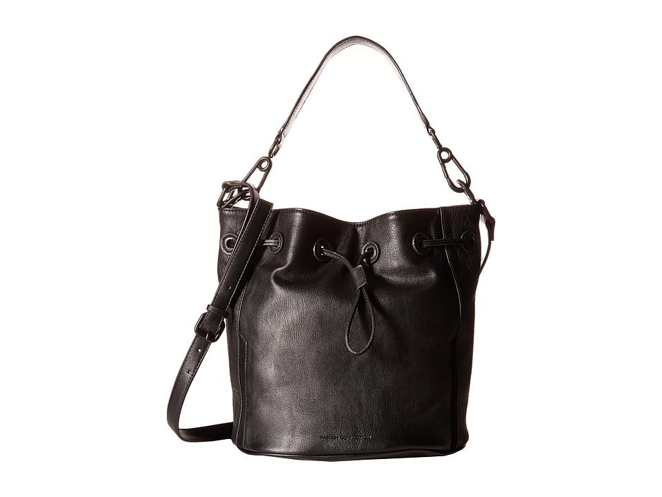 French Connection - Paige Drawstring (Black Bubble PU) Drawstring Handbags