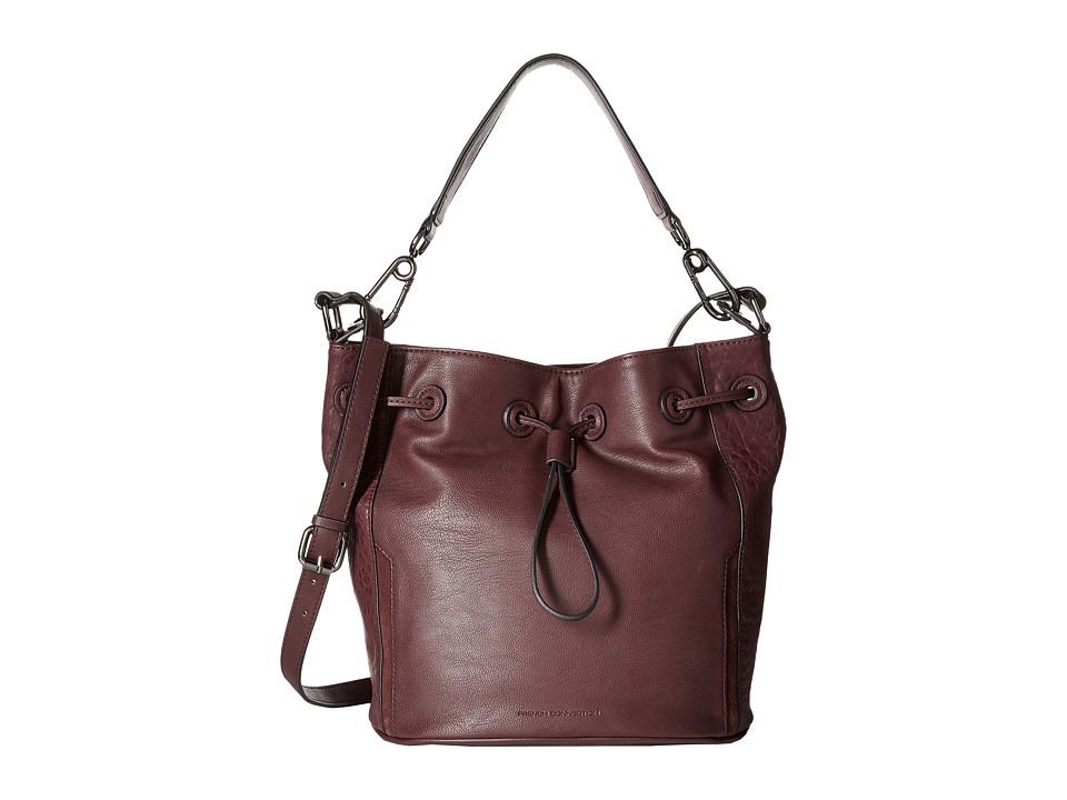 French Connection - Paige Drawstring (Biker Berry Bubble PU) Drawstring Handbags