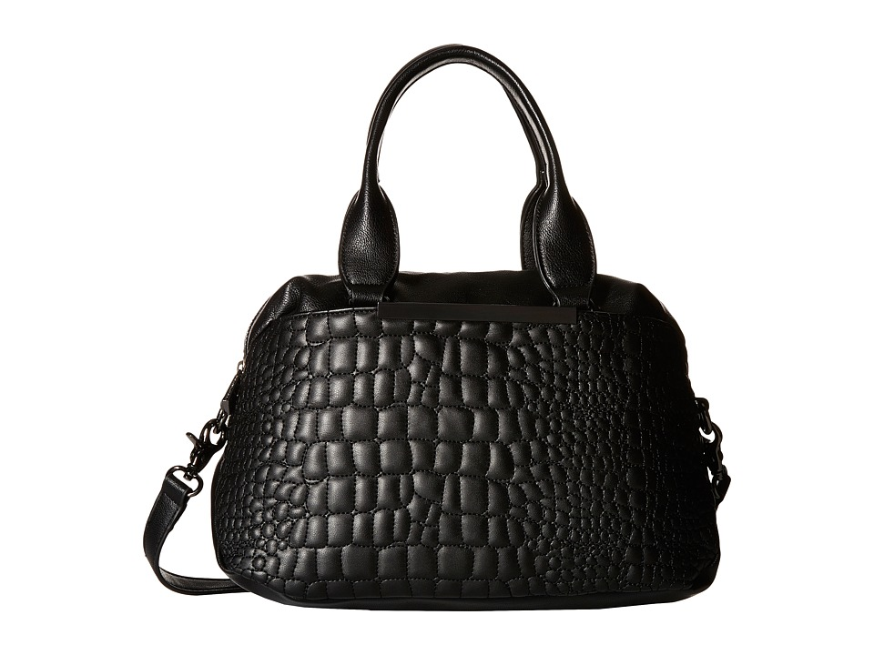 French Connection - Monica Satchel (Black Quilted Lamb PU) Satchel Handbags