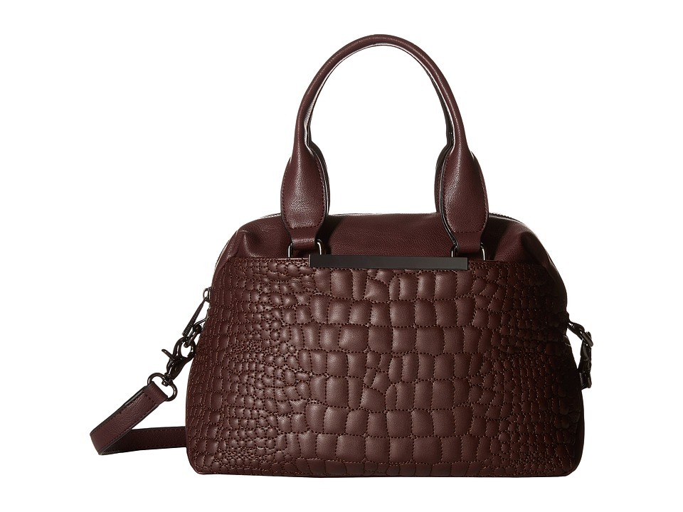 French Connection - Monica Satchel (Biker Berry Quilted Lamb PU) Satchel Handbags