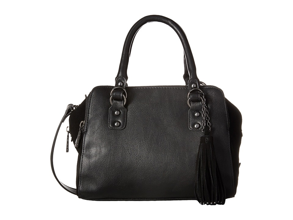 French Connection - Jenny Satchel (Black Mini Grain PU) Satchel Handbags