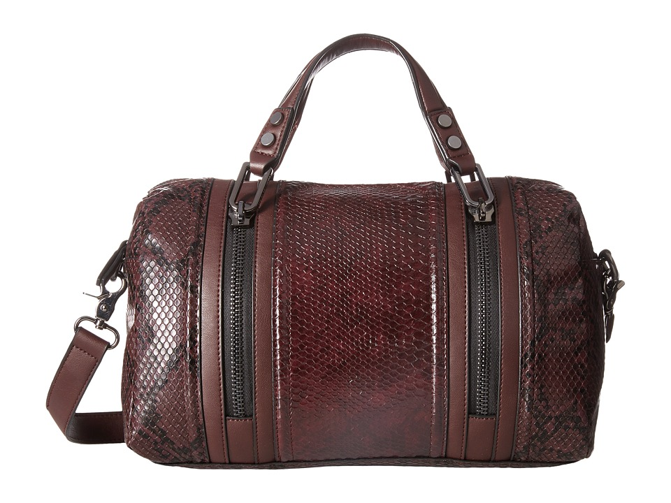 French Connection - Nora Satchel (Biker Berry Snake PU) Satchel Handbags