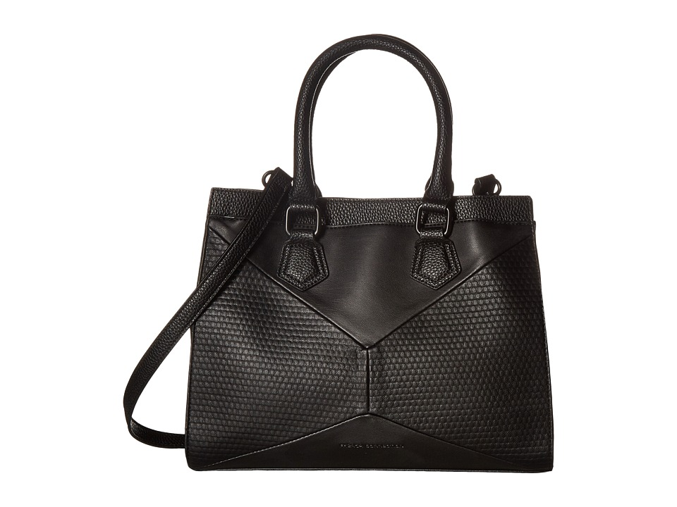 French Connection - Shane Satchel (Black Pebble PU/Lamb) Satchel Handbags