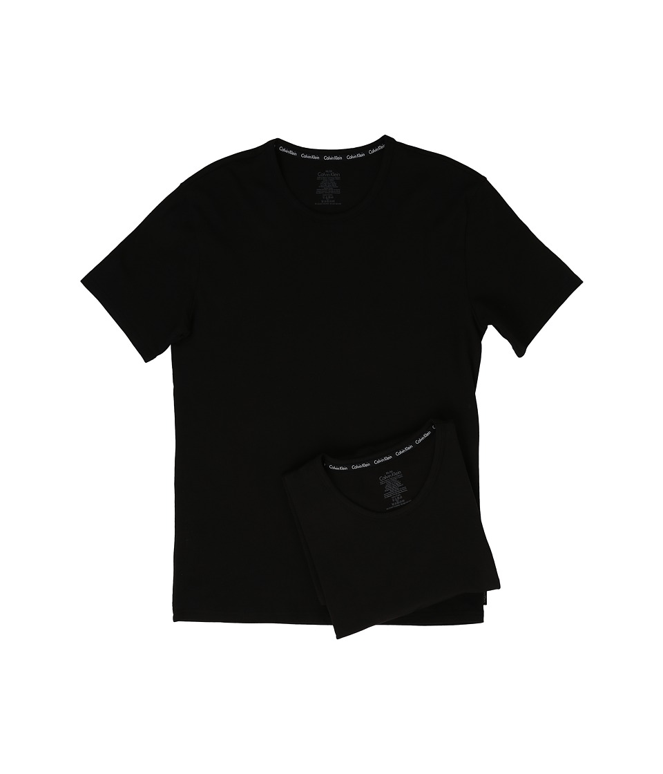 Calvin Klein Underwear - Modern Cotton Stretch 2-Pack Crew (Black) Men's Short Sleeve Pullover