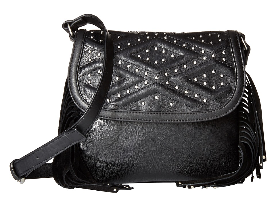 French Connection - Cassidy Crossbody (Black Mini Grain PU) Cross Body Handbags