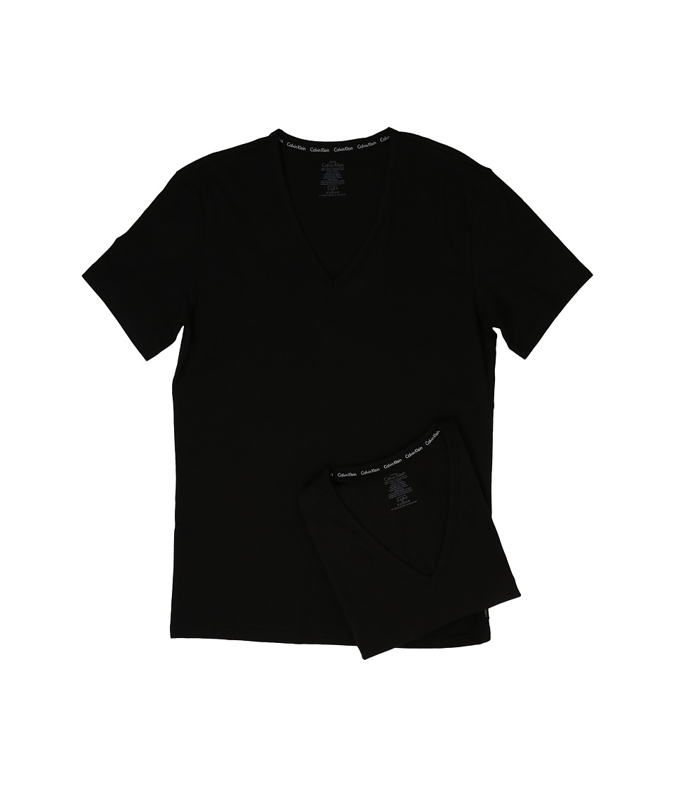 Calvin Klein Underwear - Modern Cotton Stretch 2-Pack V-Neck (Black) Men's Short Sleeve Pullover