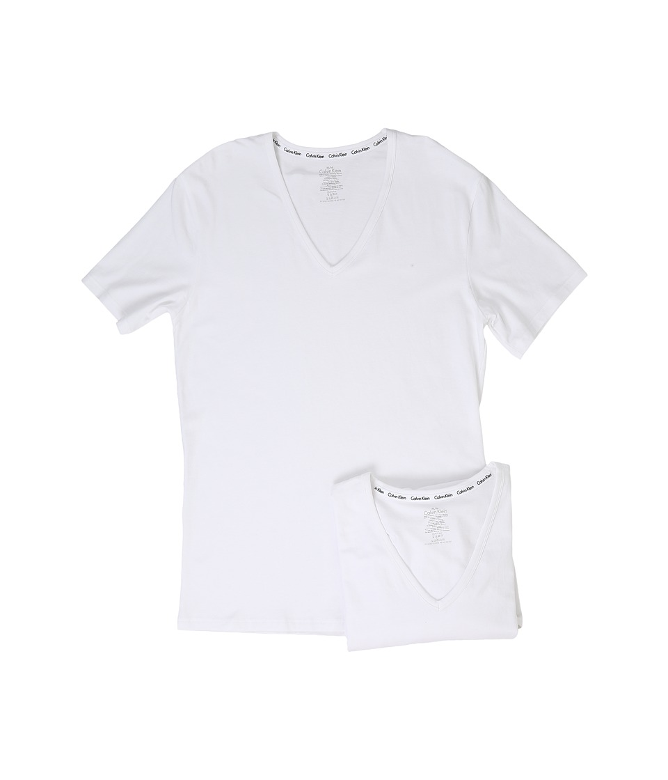 Calvin Klein Underwear - Modern Cotton Stretch 2-Pack V-Neck (White) Men's Short Sleeve Pullover