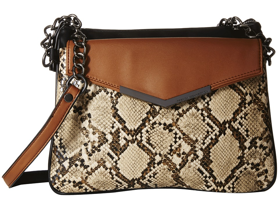 French Connection - Lenny Crossbody (Nude Lamb PU/Snake) Cross Body Handbags