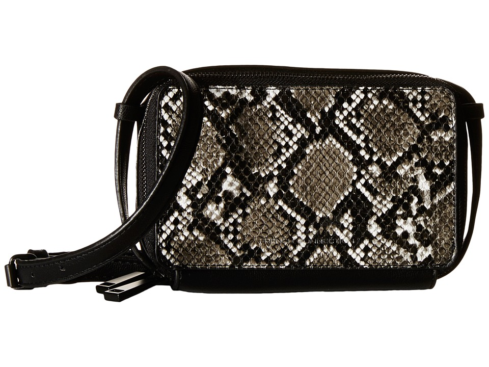 French Connection - Amy Crossbody (Black/Black Mini Grain PU) Cross Body Handbags