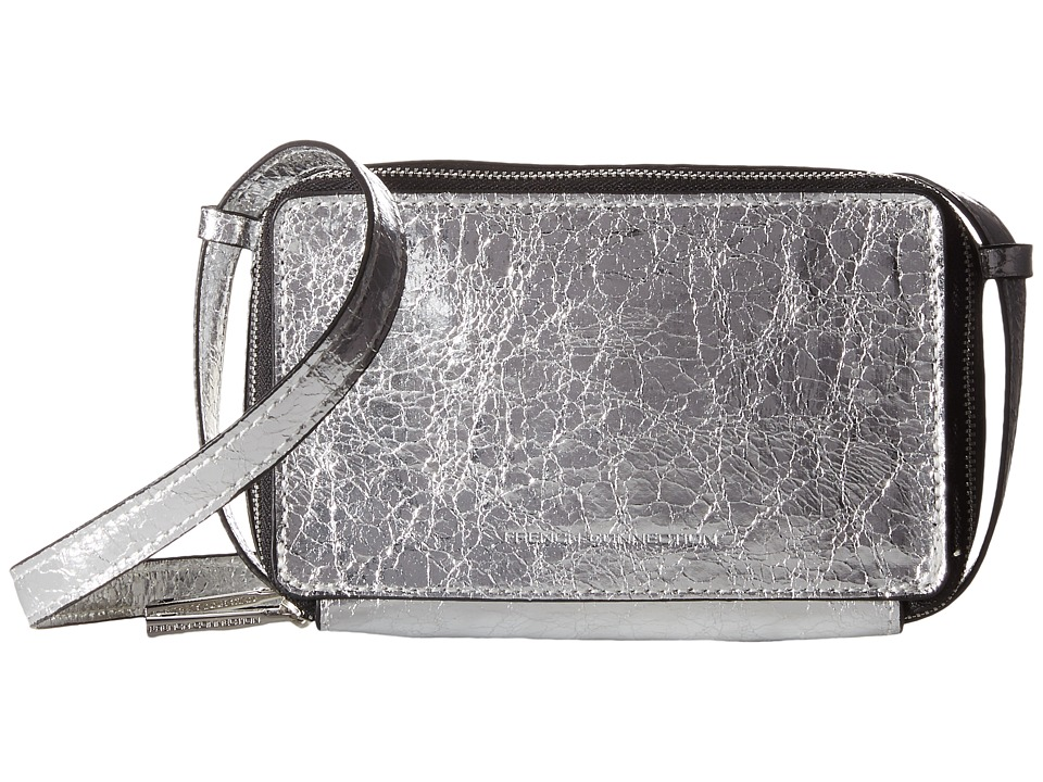 French Connection - Amy Crossbody (Silver Crinkle PU) Cross Body Handbags