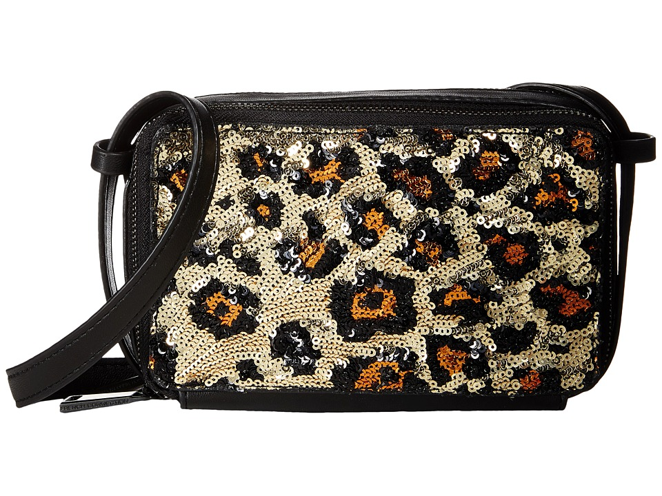 French Connection - Amy Crossbody (Black/Leopard Lamb PU/Sequins) Cross Body Handbags