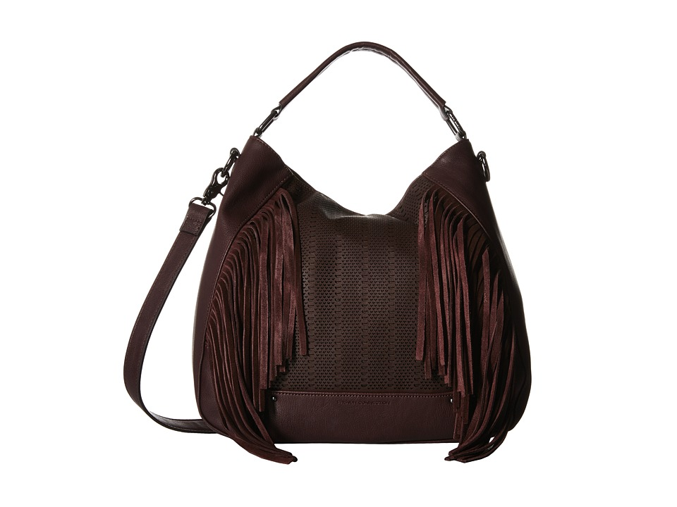 French Connection - Rose Hobo (Biker Berry Lamb PU/Cow Suede) Hobo Handbags