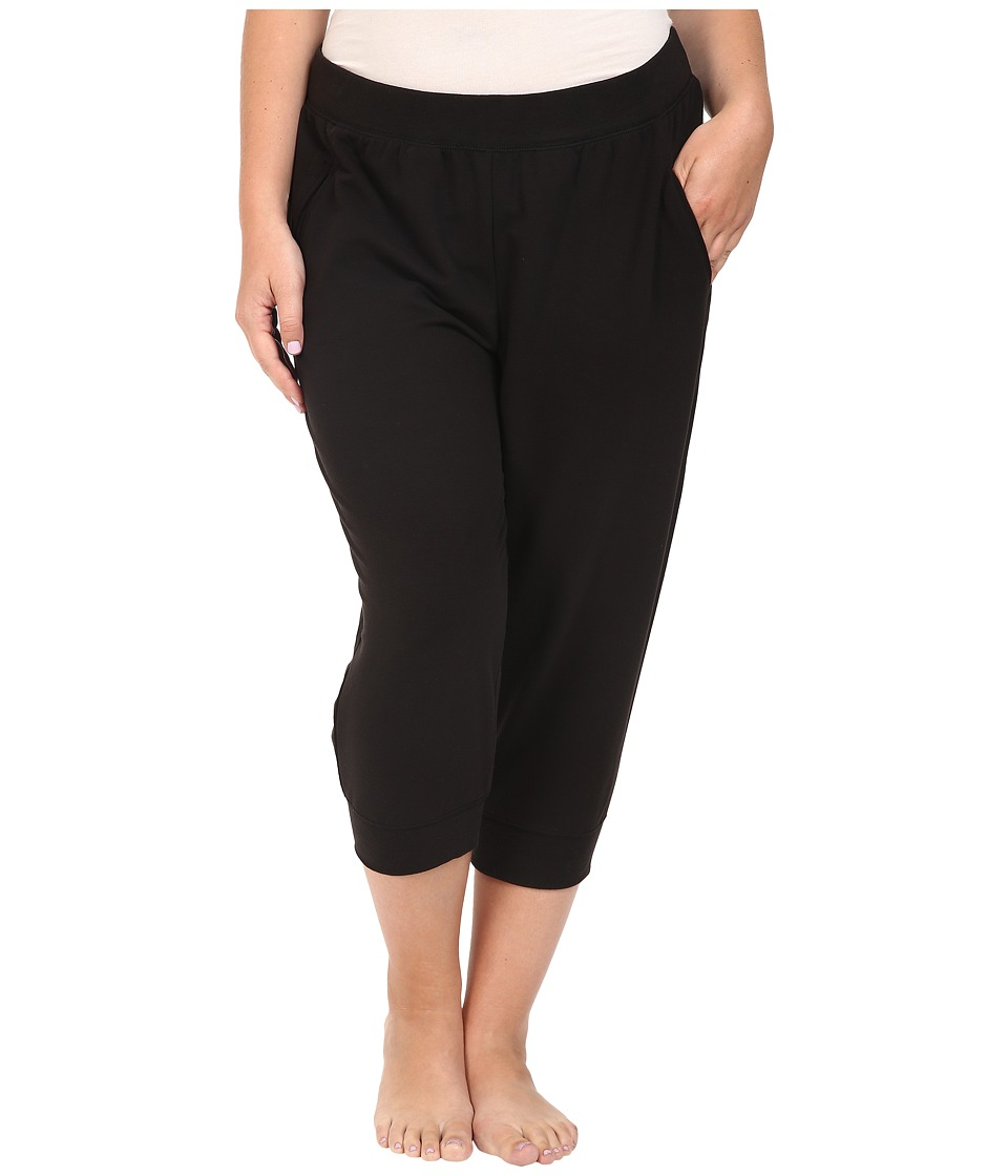 Yummie by Heather Thomson - Plus Size Baby French Terry Capris (Black) Women's Capri