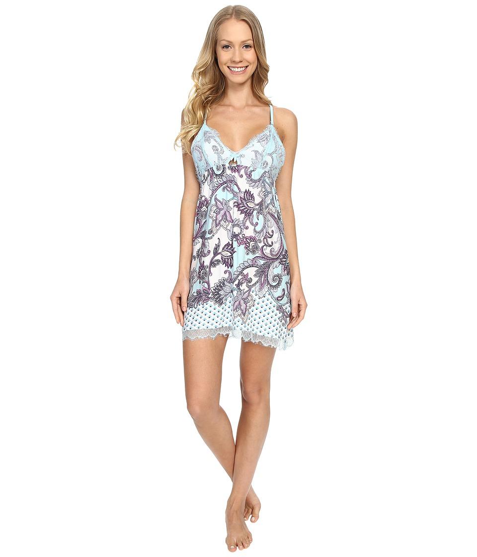 P.J. Salvage - Scrolling Paisley Chemise (Ice Blue) Women's Pajama plus size,  plus size fashion plus size appare