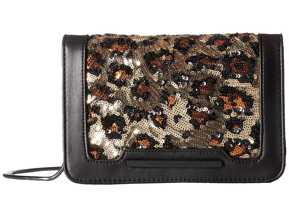 French Connection - Vanessa Clutch (Black/Leopard Lamb PU/Sequins) Clutch Handbags