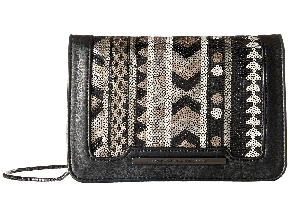 French Connection - Vanessa Clutch (Black/Deco Lamb PU/Sequins) Clutch Handbags