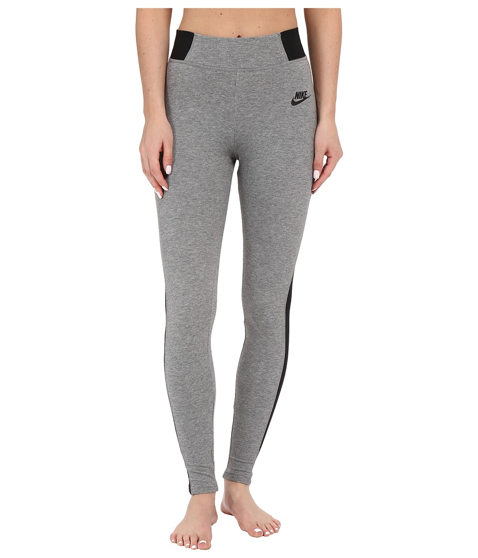 Nike - Bonded Mesh Legging (Carbon Heather/Black/Black) Women's Casual Pants