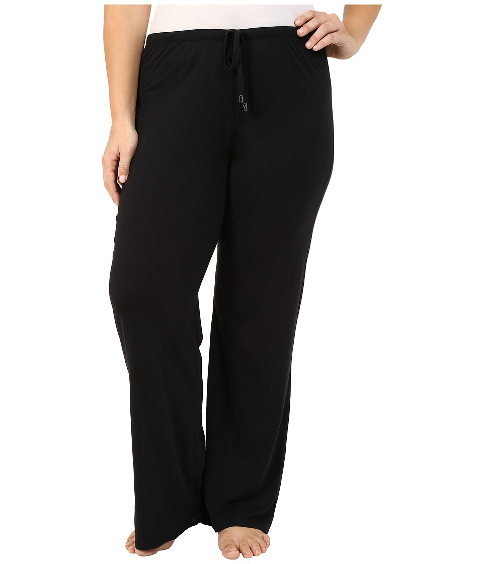 Yummie by Heather Thomson - Plus Size Pima Jersey Wide Leg Pants (Black) Women's Casual Pants