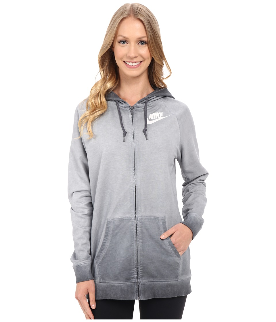 Nike - Boyfriend Full Zip Wash Hoodie (Dark Grey) Women's Sweatshirt