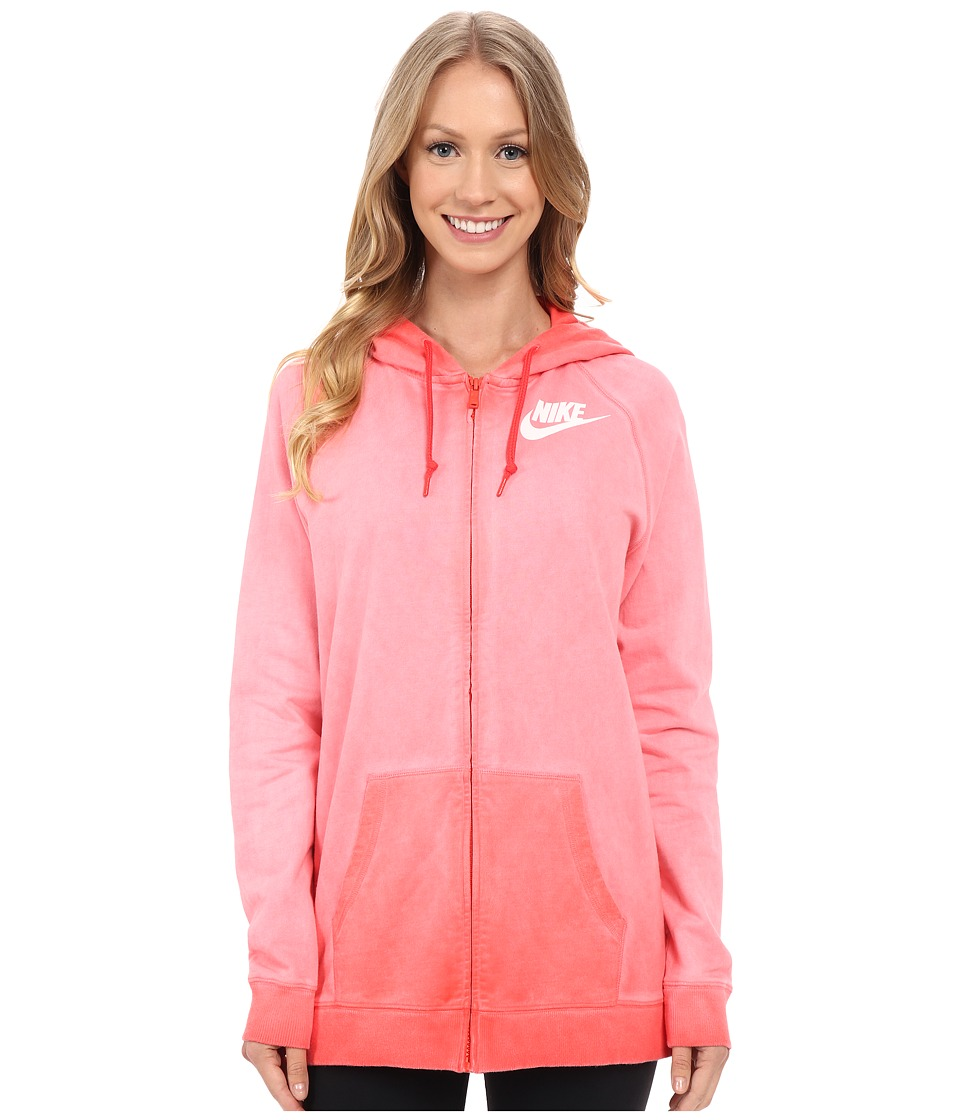 Nike - Boyfriend Full Zip Wash Hoodie (Light Crimson) Women's Sweatshirt