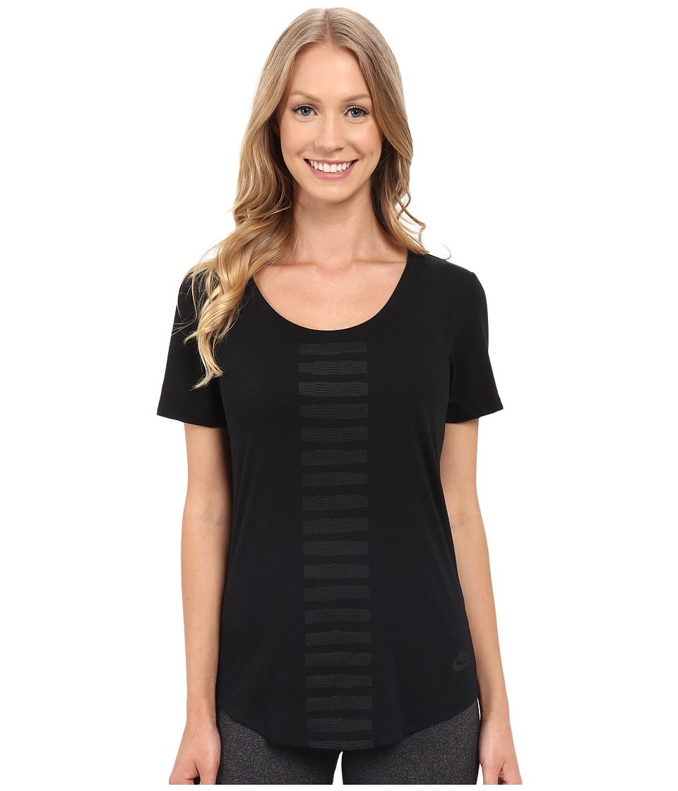 Nike Scoop Frequency Burnout Tee (Black) Women